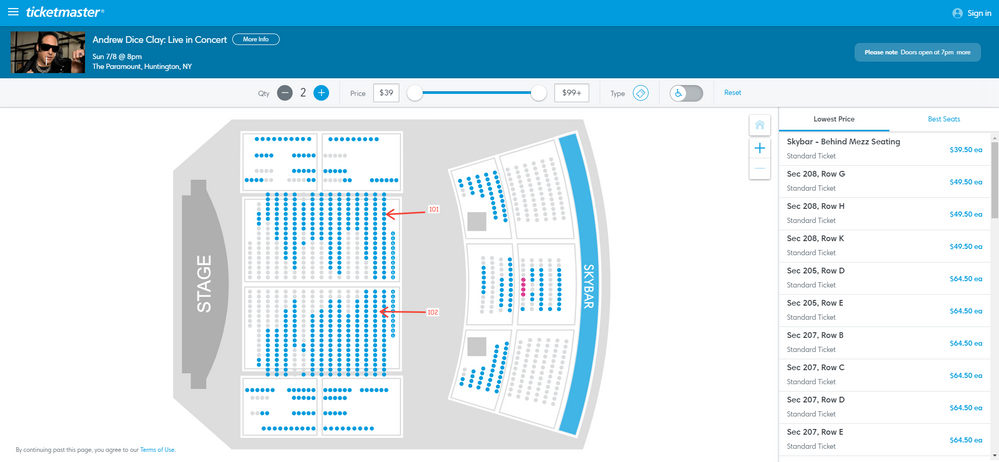 Screenshot of Tickets _ Andrew Dice Clay_ Live in Concert - Huntington, NY at Ticketmaster (1).png
