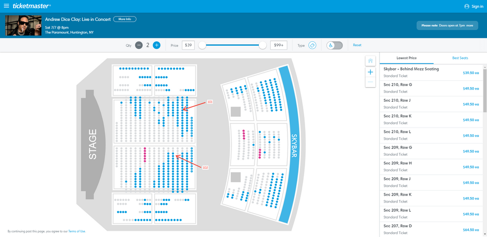 Screenshot of Tickets _ Andrew Dice Clay_ Live in Concert - Huntington, NY at Ticketmaster.png